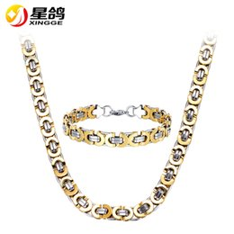 gold silver mix chain for men 2019 - Wholesale Trendy Men Jewelry Silver&Gold Color 6 8 10mm width Byzantine Chain Necklace Bracelet Jewelry Set for men bijo