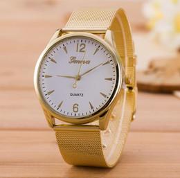 Geneva Watch Bands Men Australia - Newest Alloy Mesh Belt Geneva Wristwatch Fashion Women Men Watch Golden Steel Band Ladies Quartz Watch