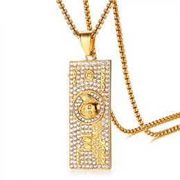 stainless steel square link chain UK - Bling 100 USA Dollars Symbol Necklace for Men with Cubic Zirconia Gold Color Stainless Steel Square Pendant Hip Hop Jewelry
