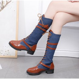 Discount denim blue ladies shoes - Women punk shoes lace up platform mid calf boots ladies winter fashion pu leather spliced denim riding boots plus size b