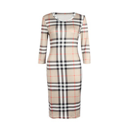 China 2018 New Women Dress Summer O Neck Three Quarter Sleeve Plaid Party Work Business Fashion Designer Dresses Clothing cheap women s business casual clothing suppliers