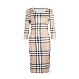 2018 novas mulheres dress verão o pescoço three quarter manga xadrez partido trabalho de negócios designer de moda vestidos de roupas