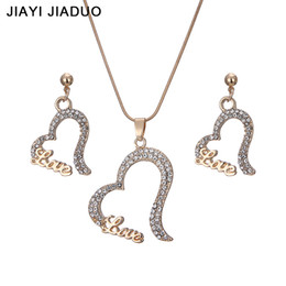 costume jewelry pendant necklaces UK - jiayijiaduo Newly Wedding Women Jewelry Gold-Color Heart Necklace Earrings Sets Rhinestone Pendant For Party Costume Accessories