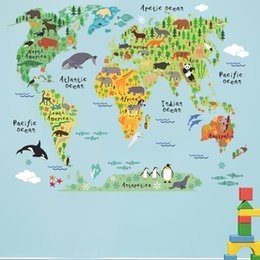 Large world map poster nz buy new large world map poster online colorful animal world map wall stickers for kids rooms living room home decorations pvc decal mural art diy art poster gumiabroncs Image collections