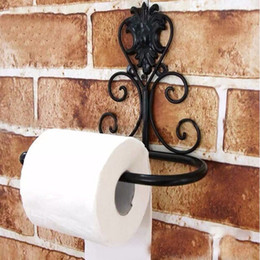 Rolls Shipping Paper Australia - Continental Iron retro decorative wall-mounted bathroom Tissue holders toilet roll paper towel holder Black White Free Shipping