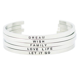 $enCountryForm.capitalKeyWord Canada - racelet bangle for women Fashion Jewelry 316L Stainless Steel Positive Text Cuff Bracelets Inspirational Quote Cuff Mantra Bracelet Bangl...