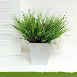 Flower For decoration wholesale online shopping - 7 Fork Spring Grass Green Artificial Leaf Plastic Simulation Foliage For Wedding Decorations Flower Fashionable Room Ornament Tool xg X