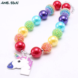 Silver horSe jewelry online shopping - Newest Cartoon Kid Chunky Necklace Fashion Horse Pendant Bubblegum Bead Chunky Necklace Children Jewelry For Toddler Girls