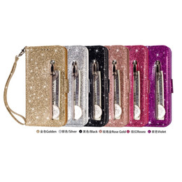 samsung k8 UK - Bling Glitter Leather Wallet Case For LG K8 K10 2018 Galaxy J3 J7 2018 Huawei P20 Lite Pro Multifunction Zipper Sparking ID Cash Flip Covers