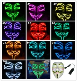 $enCountryForm.capitalKeyWord Australia - LED Halloween Masks V Word Hatred Mask EL Wire Glowing Mask Masquerade Full Face Masks Halloween Costumes Party Gift G386