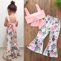 9eb7d19db749 INS Hot Girls Summer Suit Lovely Pink Bowknot Vest+White Flowers Flare  Trousers 2 pieces set 2-6 years old Girls Summer Clothing Sets LA635-