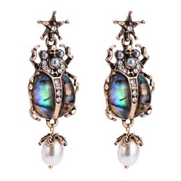 Discount beetle jewelry Vintage Jewelry Cool Scarab Beetle Insect Earrings - Egypt Meatl Crystal Rhinestone Dangle Drop Earring Free Shipping