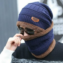 Beanies For Winter Australia - YYMM hot selling 2pcs ski cap and scarf cold warm leather winter hat for women men Knitted hat Bonnet Warm Cap Skullies Beanies S1020