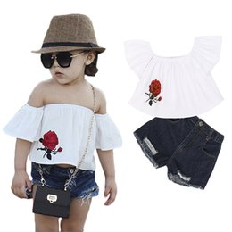 jeans shorts shirt girls NZ - White tops and denim shorts kids fashion girls clothing sets sleeveless children rose print shirt+shorts jeans kids girls clothes sets