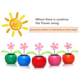 Discount car swinging doll - Solar Head Swing Flower Dolls Solar Sunflowers Car Ornament ABS Resin Auto Interior Decoration Shake Head Flowers Apple