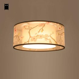 Discount Modern Japanese Lamps Round Fabric Shade Ume Ceiling Light Fixture  Chinese Modern Simple Japanese Plafon