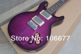 d1ce5c75d35 Colorized Shells Inlay Santana Brazlian LTD Tiger Flame Maple Custom 24  Purple Electric Guitar Free Shipping