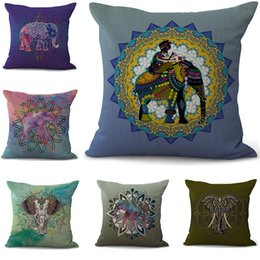 China National style Elephant Pillowcase Bohemian bed animal Pillowcover Cotton Linen Ethnic car Pillow Cover Bedroom sofa Throw Cushion dropship suppliers
