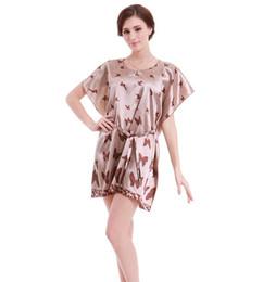 $enCountryForm.capitalKeyWord NZ - Spring summer Super large code loose Butterfly Nightdress Anti real silk Bathrobe Robe Bathrobe Home clothing Sleepwear Soft silk slippery