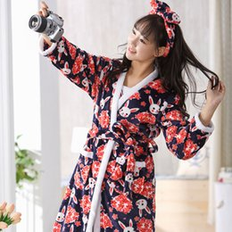 8542b8a8d0 women clothes 2018 female printing bath robe flannel girls robe warm winter  pajamas suit Sling + robes cartoon robes