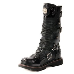 Motorcycle Boots 45 Canada - Winter Designer Black Mid Calf Boots For Men Buckle High Top Leather Shoes Man Motorcycle Boot Cowboy Size 38-45 Dressing Up Hombre Botas