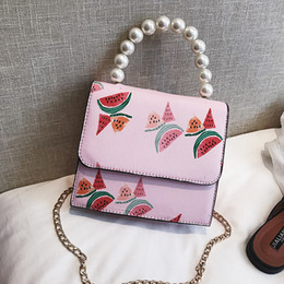 fresh fruit flowers NZ - Small bag woman 2018 summer new pearl portable small square bag chain single shoulder messenger bag T286