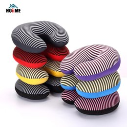 travel neck pillows for airplanes 2019 - Hoiime U-shaped Pillow New Stripe Printing Travel Neck Pillow Filling Microbead Foam Particle For Airplane Office Siesta