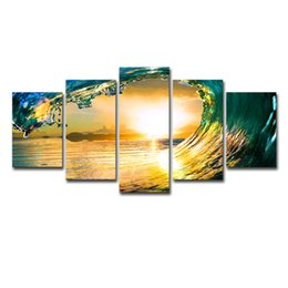 $enCountryForm.capitalKeyWord NZ - Canvas Paintings Home Decor 5 Pieces Sunset Green Sea Waves HD Prints Seascape Posters Living Room Wall Art Framework Pictures