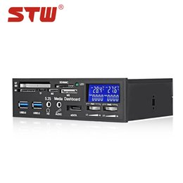 Wholesale STW STW - 3008 Multifunktions Desktop Optischer Laufwerk Fan Controller mit Kartenleser USB 3.0 Port LCD Display