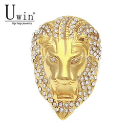 $enCountryForm.capitalKeyWord UK - designer jewelry Stainless Steel rings Gold Color Rhinest Lion head Ring Rock Punk Lced Out Bling Zircon Men's HIPHOP Fashion men Jewelry