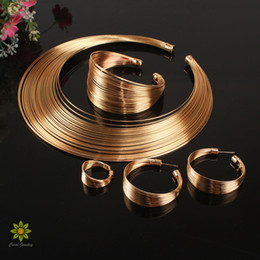 $enCountryForm.capitalKeyWord Australia - ashion Jewelry Sets Indian Jewelry Set Fashion Metal Wire Torques Choker Necklaces Bangle Earrings Ring Sets For Women Dress Gift Bridal...