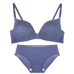 2b886059e9b3e Cotton comfortable candy color underwear bra no steel thin section lovely small  chest gather bra set