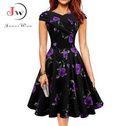f41517178fa Women Vintage dress 1950s Floral Print EleDresses Summer Sexy 60s Retro  Rockabilly Swing Party Dress robe femme ete 2017