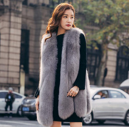ElEgant whitE wintEr coat fashion online shopping - Elegant Faux Fox Fur Vest Winter Sleeveless Jacket Coat Vest Waistcoat Outwear Casual Fashion Lady Gilet Vest for Women
