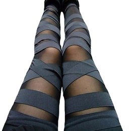 $enCountryForm.capitalKeyWord Canada - Fashion Bandage Leggings Mesh Womens Leggins 2018 Sexy Legging Slim Black Punk Rock Elastic Femme Pants