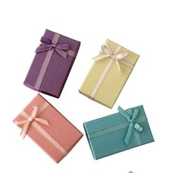 Discount tie cases - 4 Colors 5x8x3cm Bow Tie Jewelry Display Bag Gift Box for Christmas Jewelry Case Xmas Storage Container Wedding Party De