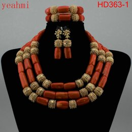 african big bead necklaces 2019 - Dubai Gold Bold Statement Jewelry Set High Quality Original Big Coral Beads African Jewelry Set for Women Free Shipping