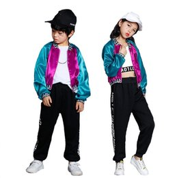 jazz boys clothes Canada - Boys Girls Hip Hop Jazz Performance Clothes suits Kids Multicolor Jacket Top Pant Set Children Girls Stage Costume Dance Wear