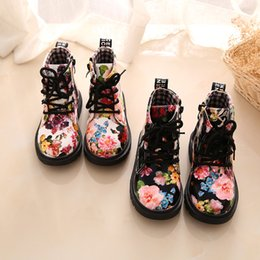 Elegant Flower Girl Shoes Australia - Cute Girls Boots Fashion Elegant Floral Flower Print Kids Shoes Baby Martin Boots Casual Leather Children Boots