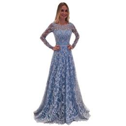 89c6f2e9c2 2019 vestido elegante para la boda de las mujeres de moda Sheer Lace de  manga larga con cuello en v vestidos sin espalda sexy encaje Prom Maxi  vestidos de ...