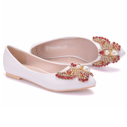 crystal rhinestones flat shoes NZ - New Beautiful Bowtie Pearls Women Flats Fashion Crystal Shoes White Rhinestone Pointed Toe Flat wedding shoes Plus Size