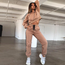 Wholesale lounge wears resale online - 2018102408 Women Tops Or Pants Hooded Long Sleeve Lounge Clothes Joggers Wear Solid Color Ladies Winter hoody suit