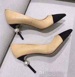 Office bOxes online shopping - Designer Women Goatskin Grosgrain Pumps Genuine Leather Pearl High Heels OL Dress Shoes Lady Beige White Black Single Shoes Original Box