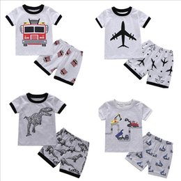 Wholesale Vieeoease Boys Sets Car Kids Clothing Summer Short Sleeve Cotton T shirt Print Shorts EE