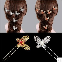 $enCountryForm.capitalKeyWord Australia - The bride Butterfly Pearl hair hairpin Korean wedding dress accessories jewelry wedding flower head hair ornaments