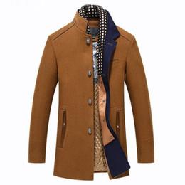 b2202592d5b Abrigo para hombre invierno Casual gruesa capa de lana hombres collar de  pie abrigos de lana con parka bufanda desmontable Casaco Masculinos Peacoat
