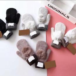 Soft fingerleSS gloveS online shopping - Fur Pom Pom Gloves UG Warm Mittens Colors Fluffy Soft Thick Windproof Heated Gloves Fingerless Girls Winter Gloves Pair OOA5905