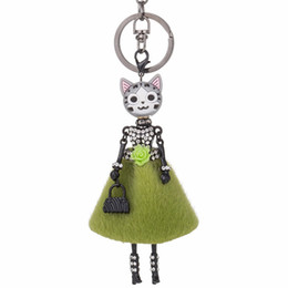 Keychain Cat Black NZ - HOCOLE 8 colors Doll Cat Head Cute Rhinestone Black keychain for Women Car Pendant Hot Girl Statement Jewelry Bag Key Chain Ring