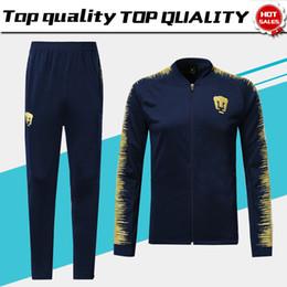 8db565759 UNAM Mexiko Long Sleeve Jacket Suit Kit Soccer Jersey Club Universidad  Nacional blue Training Uniform 2018 19 Football Suits Jacket+Pants