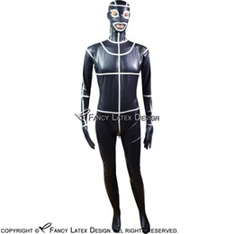 nose s NZ - Black With White Trims Sexy Latex Catsuit With Feet Gloves Hood Mask Open Eyes Nose Mouth Rubber Bodysuit LTY-0008